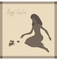 Easter card with girl and rabbit in light-brown vector