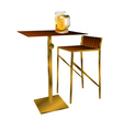 Bar table with beer vector