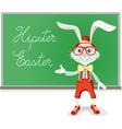Hipster easter rabbit teacher cartoon vector