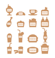 Set of fast food icons with place for sample text vector