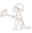 A plain sketch of a fireman holding a hose vector