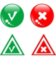 Button green accept and red reject vector