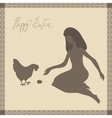 Easter card with girl and chicken in light-brown vector