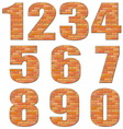 Font build out of red bricks vector
