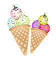 Triple ice cream scoops on two cones vector