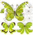Set green vintage butterflies vector