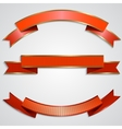 Set of red ribbons with golden border vector
