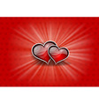 Two hearts on the red background vector