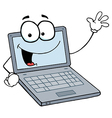 Laptop cartoon character waving a greeting vector