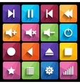 Set of media player buttons in flat design style vector
