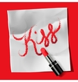 Lipstick and inscription kiss vector