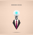Businessman symbol with creative light bulb sign vector
