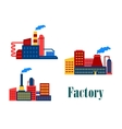 Flat factory and plants icons vector
