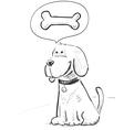 Cartoon dog dreaming about bone vector