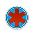 Medic symbol red color on the blue circle vector