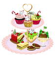 A tray with different baked goods vector