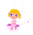Cute little christmas angel girl isolated on white vector