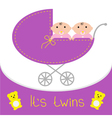 Baby carriage its twins girls shower card flat des vector