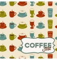 Coffee cup seamless pattern with tag vintage style vector