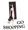 Girl go shopping vector
