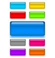Set web shiny glass buttons vector