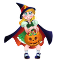Girl hold in her hands pumpkin with a candy vector
