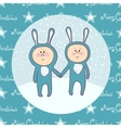 Cute babys in rabbit costume vector