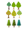 Set tree icon fruit trees conifers forest trees vector