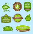 Bundle of labels for organic bio natural foods vector