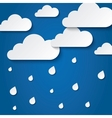 Paper white clouds on blue paper raindrops vector