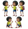 Five black boys vector