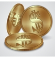 Gold coins with dollar currency sign vector