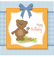 Happy birthday card with teddy bear and flower vector