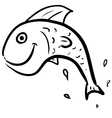 Fish jumping smiling character vector