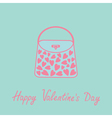 Love bag with hearts love card blue and pink flat vector