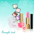 Cosmetics set with flowers vector