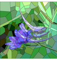 Stained glass with blue and lilac flower vector