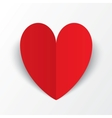 Red paper heart valentines day card on white vector