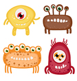 Set of four funny monsters-aliens with wide smiles vector