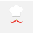 Chef hat and big red hot pepper mustache isolated vector