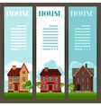 Town vertical banners design with cottages and vector