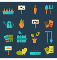 Gardening set icons over blue vector