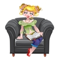 Girl read book on the black armchair vector