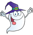 Ghost holding his hands up and wearing a witch hat vector