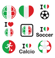 I love italian football soccer icons set vector