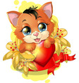 Kitten and heart vector