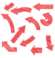 Painted red arrows set vector