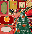 Vintage christmas background with frames vector