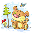 Christmas postcard with bear and christmas tree vector