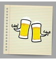 Doodle bubbles with beer vector